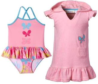 Wippette Toddler Girl Swim Cover-up & Butterfly Print One Piece Ruffle Tutu Swimsuit, 2pc Set