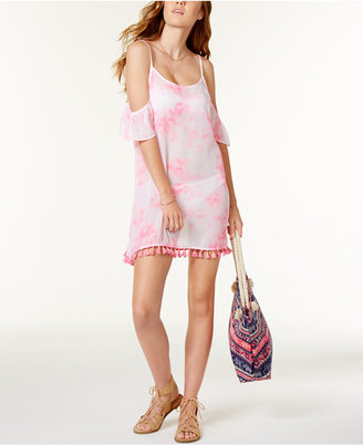 Miken Tie-Dyed Cross-Back Cold-Shoulder Fringed Cover-Up $28 thestylecure.com