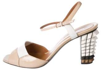 Fendi Patent Leather Slingback Sandals White Patent Leather Slingback Sandals