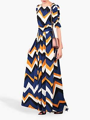 7953d0a77155 at John Lewis and Partners · Jolie Moi Geometric Print Ruched Sleeve Maxi  Dress