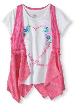 Wonder Nation Girls' Graphic T-shirt and Lace Vest 2-Piece Set