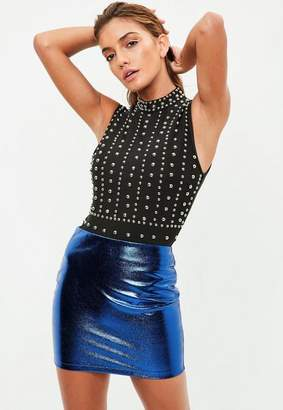 Missguided Petite Blue Metallic Mini Skirt