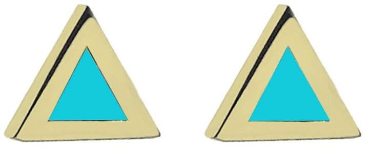Jennifer Meyer Turquoise Inlay Triangle Stud Earrings - Yellow Gold
