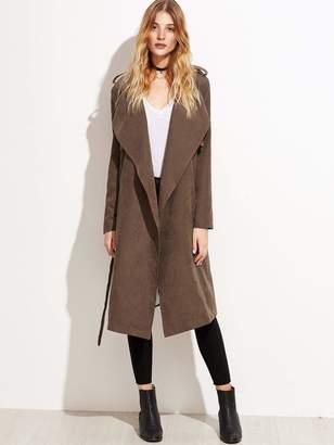 322b2a9a5 Shein Brown Leather & Suede Coats - ShopStyle