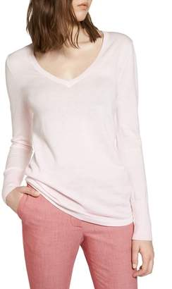 Halogen Cotton Blend V-Neck Sweater