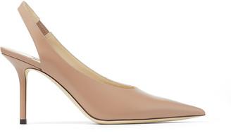 Jimmy Choo IVY 85 Ballet Pink Liquid Leather Slingback Heel