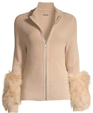 Elie Tahari Norah Fur Cuff Wool Sweater