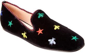 Gucci Embroidered Velvet Slipper