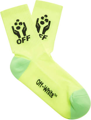 Off-White Hands Off Two-Tone Cotton Socks