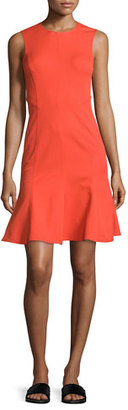 Derek Lam 10 Crosby Sleeveless Paneled Fit-and-Flare Dress, Bright Coral $395 thestylecure.com