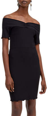 Warehouse Rib Bardot Dress, Black