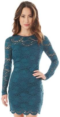 Iz Byer Juniors' Long Sleeve Lace Bodycon Dress
