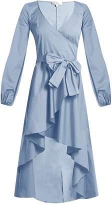 Caroline Constas Lena asymmetric-hem cotton-blend wrap dress