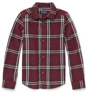 Children's Place The Childrens Place Long Sleeve Button Up Burgundy Twill Plaid Shirt (Little Boys & Big Boys)