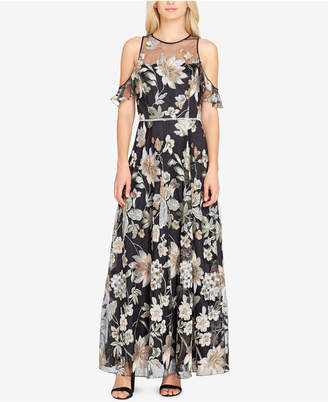 Tahari ASL Embroidered Cold-Shoulder Gown