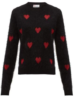 RED Valentino Metallic Heart Intarsia Sweater - Womens - Black Red
