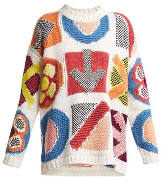 Burberry Geometric Instarsia Wool Blend Sweater - Womens - White Multi