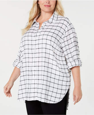 Calvin Klein Plus Size Windowpane-Plaid Tunic Shirt