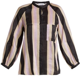 Apiece Apart Ioona Striped Linen Blend Blouse - Womens - Purple Stripe