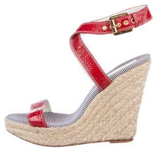 9207183b27e DSQUARED2 Leather Wedge Sandals