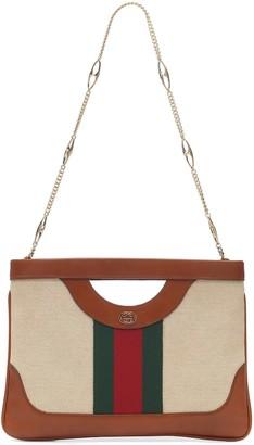 Gucci Vintage Large canvas shoulder bag