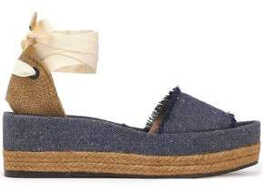 Castaner Estela Woven Canvas And Frayed Denim Platform Sandals