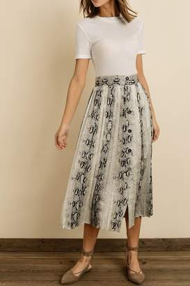 Dress Forum Snakeskin Pleated Mini Skirt