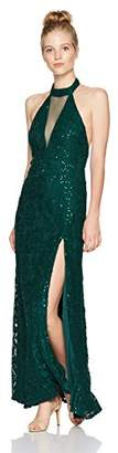 My Michelle Women's Lace Gown with Illusion Cut Out