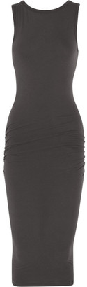 James Perse - Ruched Stretch-cotton Jersey Midi Dress - Charcoal $195 thestylecure.com
