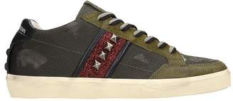 Leather Crown Green Leather And Fabric Sneakers
