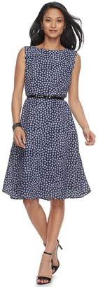 Elle Women's Print Scallop Trim A-Line Dress