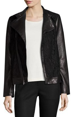 Neiman Marcus Lace-Panel Leather Moto Jacket, Black $598 thestylecure.com
