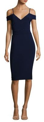 Laundry by Shelli Segal Ruched Cold-Shoulder Sheath Dress $168 thestylecure.com