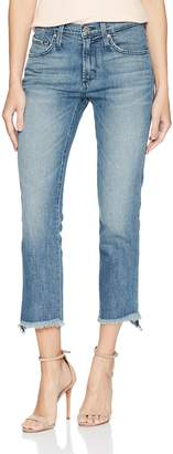 James Jeans Women's Hi-Lo Straight Stepped Hem High Rise Jean