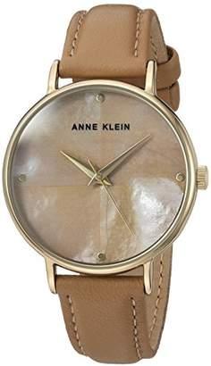 Anne Klein Women's AK/2790TMDT Gold-Tone and Dark Tan Leather Strap Watch