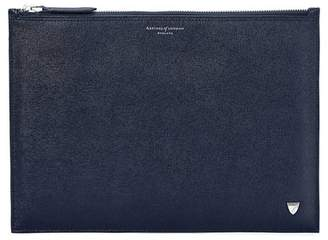 Aspinal of London Mount Street Flat Pouch In Navy Saffiano