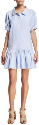 Opening Ceremony Dropped-Waist Short-Sleeve Flounce Shirtdress
