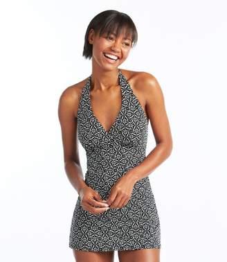 L.L. Bean L.L.Bean Slimming Swimwear, Clasp Halter Dress Print