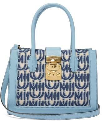 Miu Miu Madras Small Logo Jacquard Leather Trim Bag - Womens - Blue White
