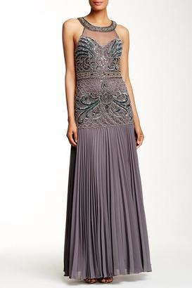 Sue Wong - Bedazzled Halter Neck Pleated Dress N5350NM $890 thestylecure.com