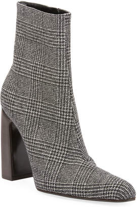 Balenciaga Prince of Wales Plaid Block-Heel Booties
