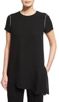 Lafayette 148 New York Jaden Short-Sleeve Asymmetric Tunic, Black $448 thestylecure.com