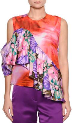 MSGM Sleeveless Mixed-Print Silk Satin Top w/ Ruffled Frill