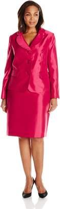 Le Suit Women's Plus-Size Three Button Shiny Jacket and Skirt Suit Set
