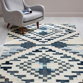 west elm Checkerboard Diamond Wool Dhurrie