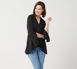 Laurie Felt Woven Wrap Blouse with Sleeve Detail