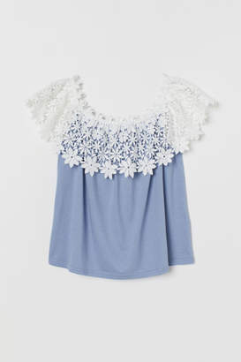 H&M Off-the-shoulder Top with Lace - Blue