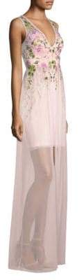 Aidan Mattox Embroidered Floral Gown
