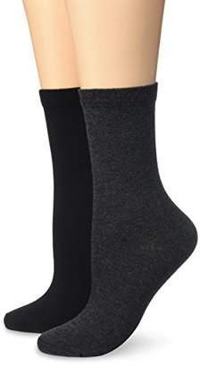 Dim Women's Mi Chaussettes Coton x2 Sports Socks, Multicolour (Anthracite/Noir)