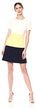 Sandra Darren Women's 1 PC Short Sleeve Scuba Crepe Color Block A-Line Dress